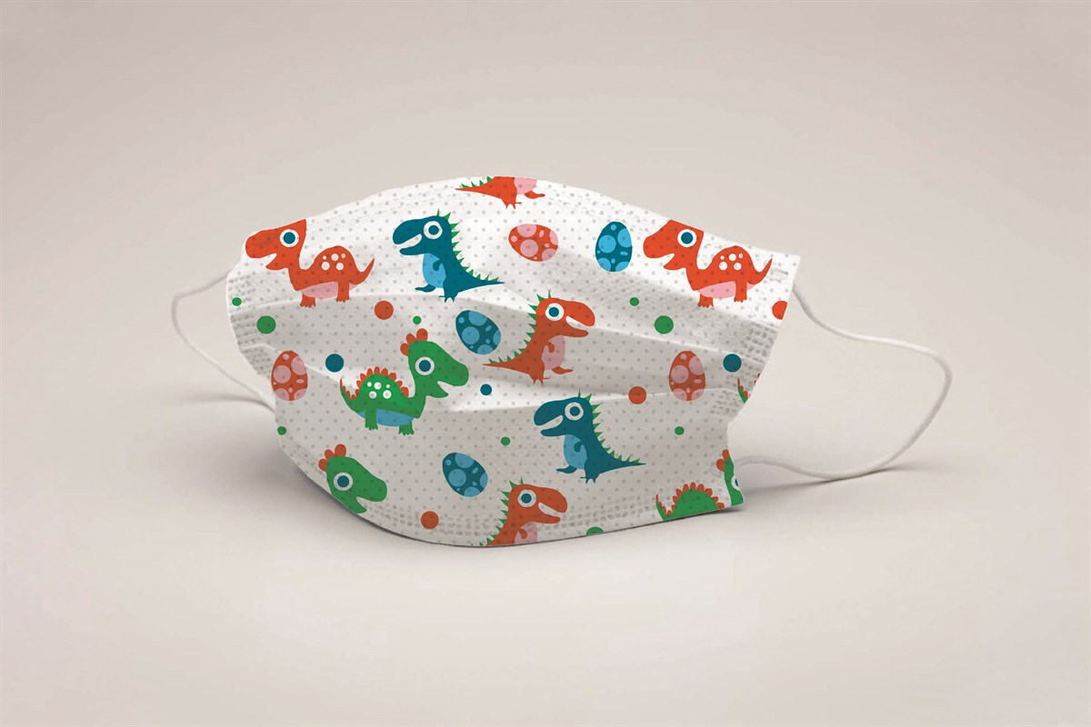 Dino Babies 3NNN mask with pattern, children, disposable 5pcs